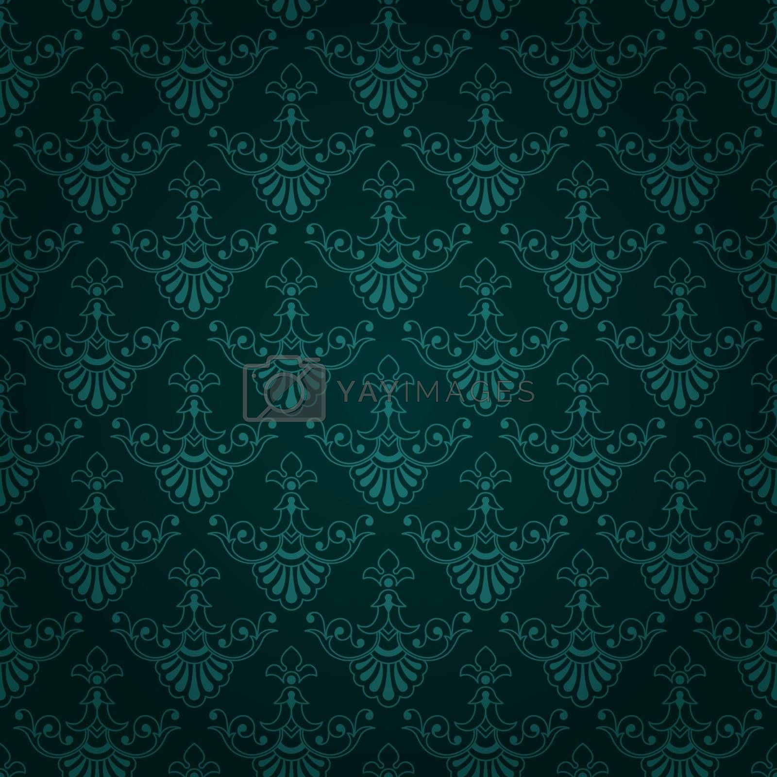 Beautiful dark bluey green seamless tile vintage wallpaper design with floral elements, eps8 vector