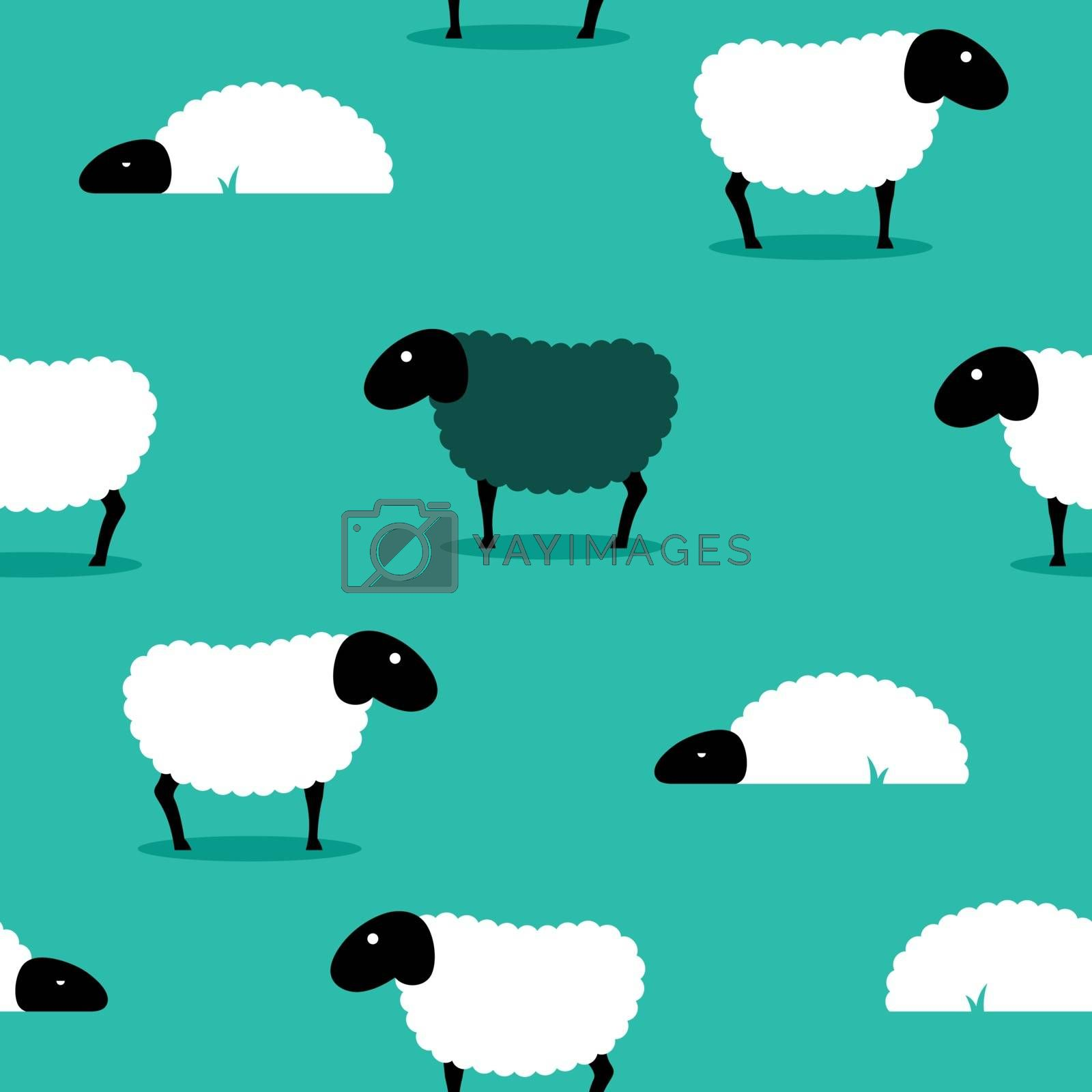 2D vector of a black sheep amongst white sheep on a green solid background, eps8.