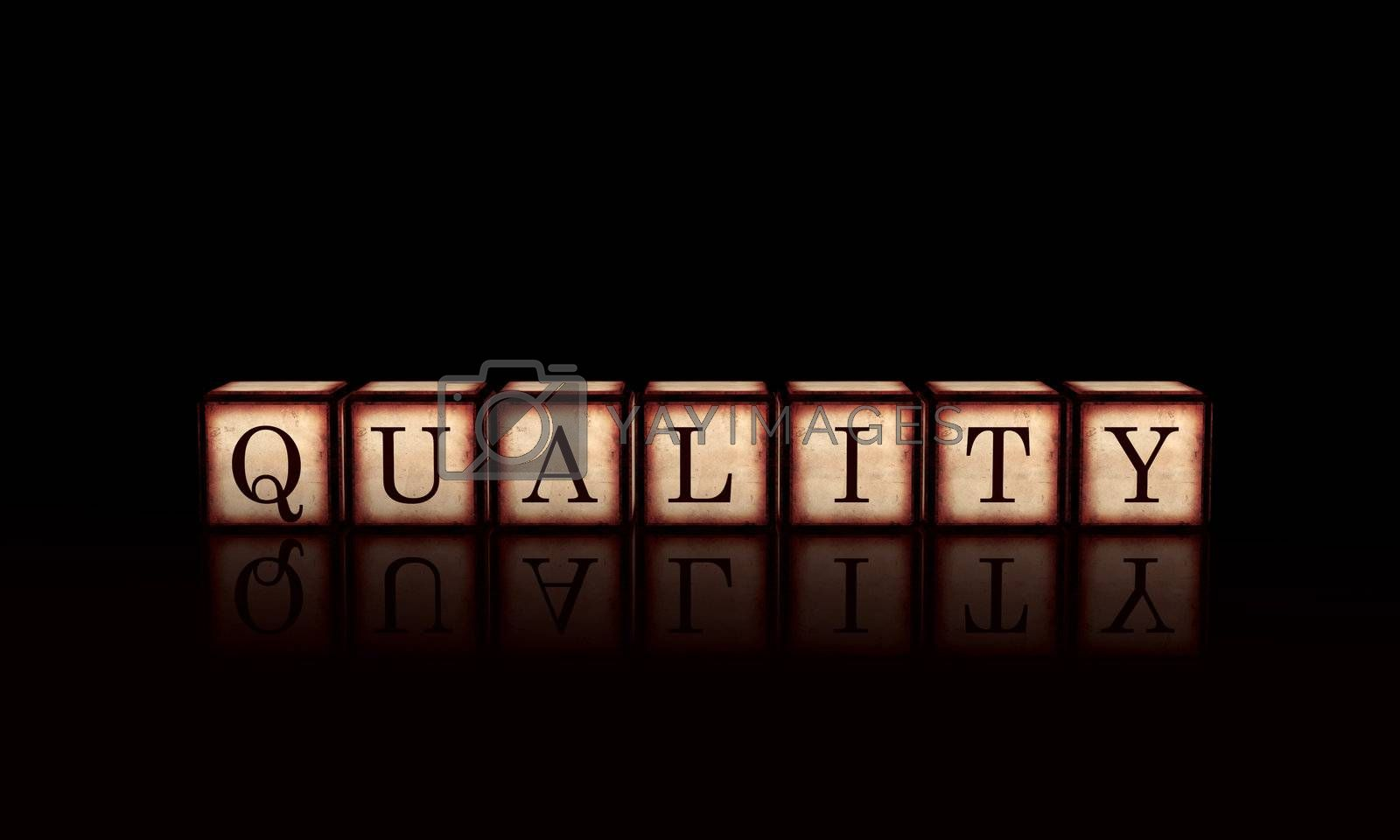 quality text - 3d retro wooden cubes with letters, business concept