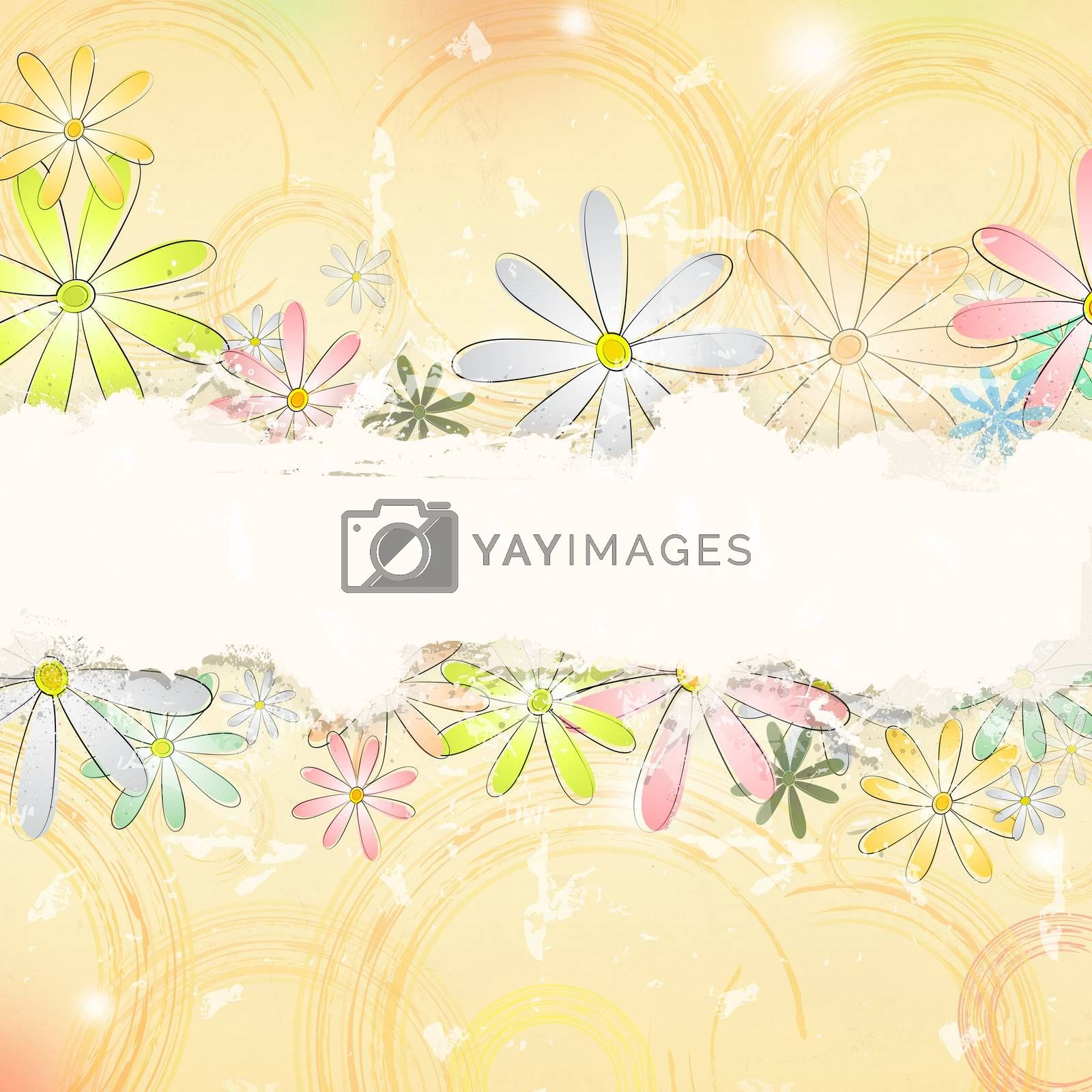 vintage background with multicolored flowers and circles over beige old paper with text space
