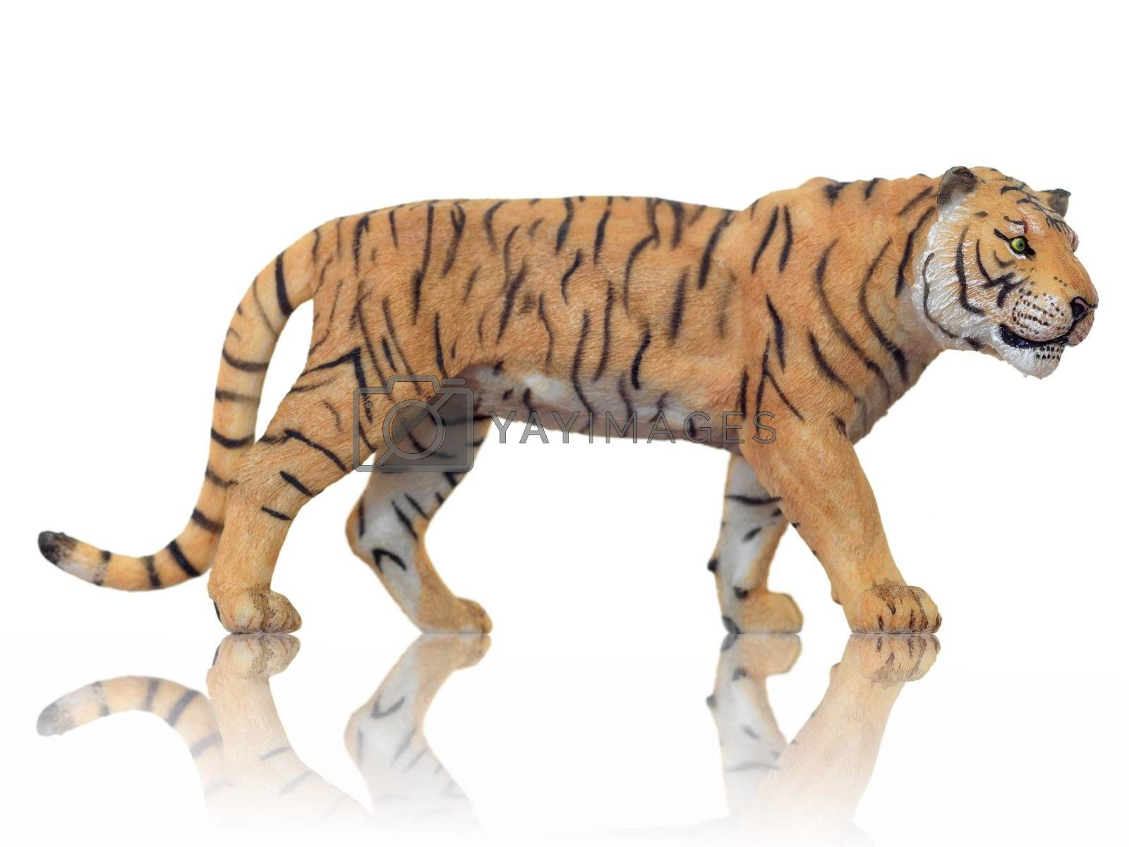Toy animals isolated against a white background
