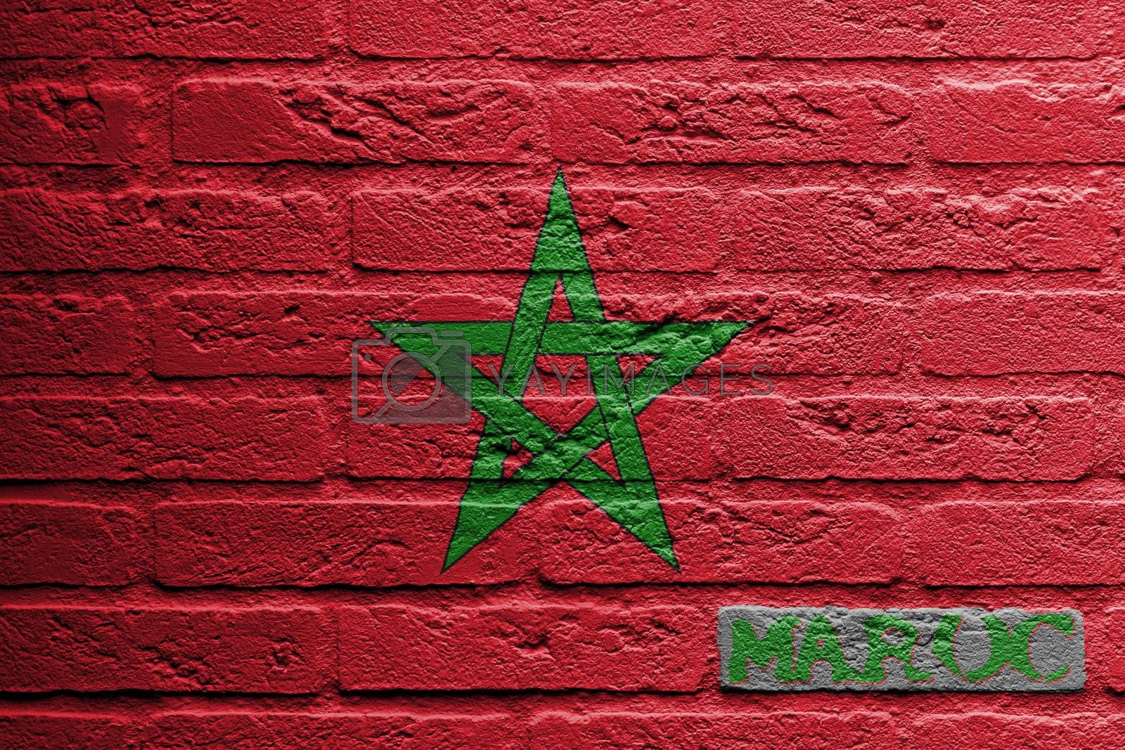 Brick wall with a painting of a flag isolated, Morocco
