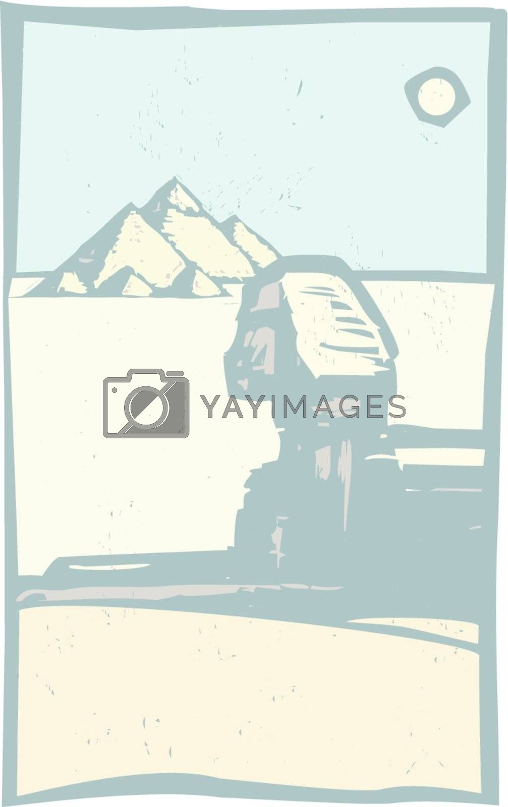 Woodcut style Egyptian Sphinx with pyramids in a travel image.