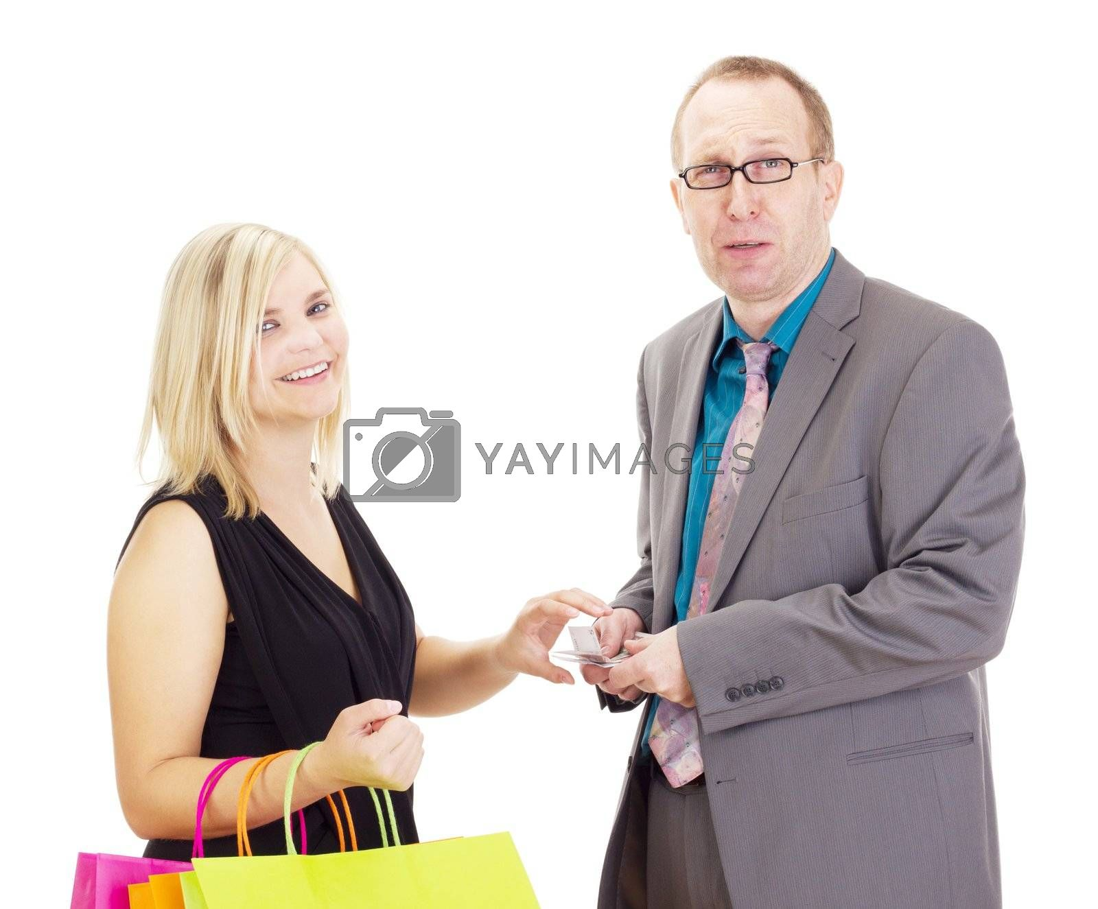Two business people on a shopping tour by gwolters