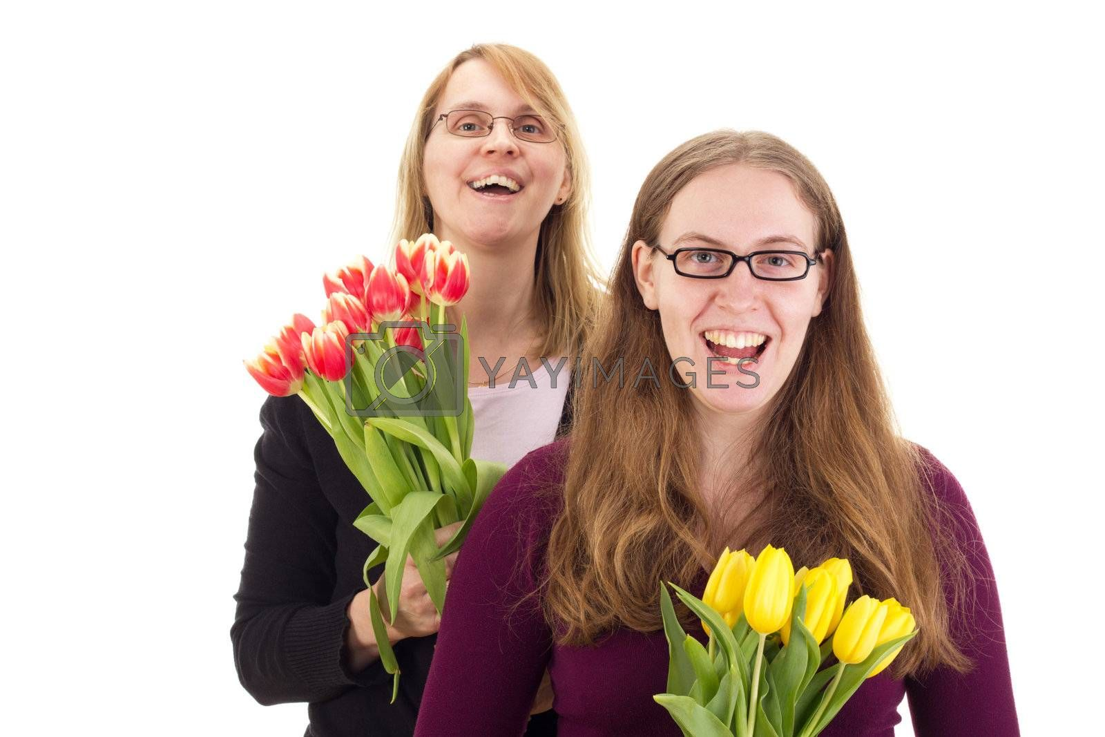 Women with tulips by gwolters