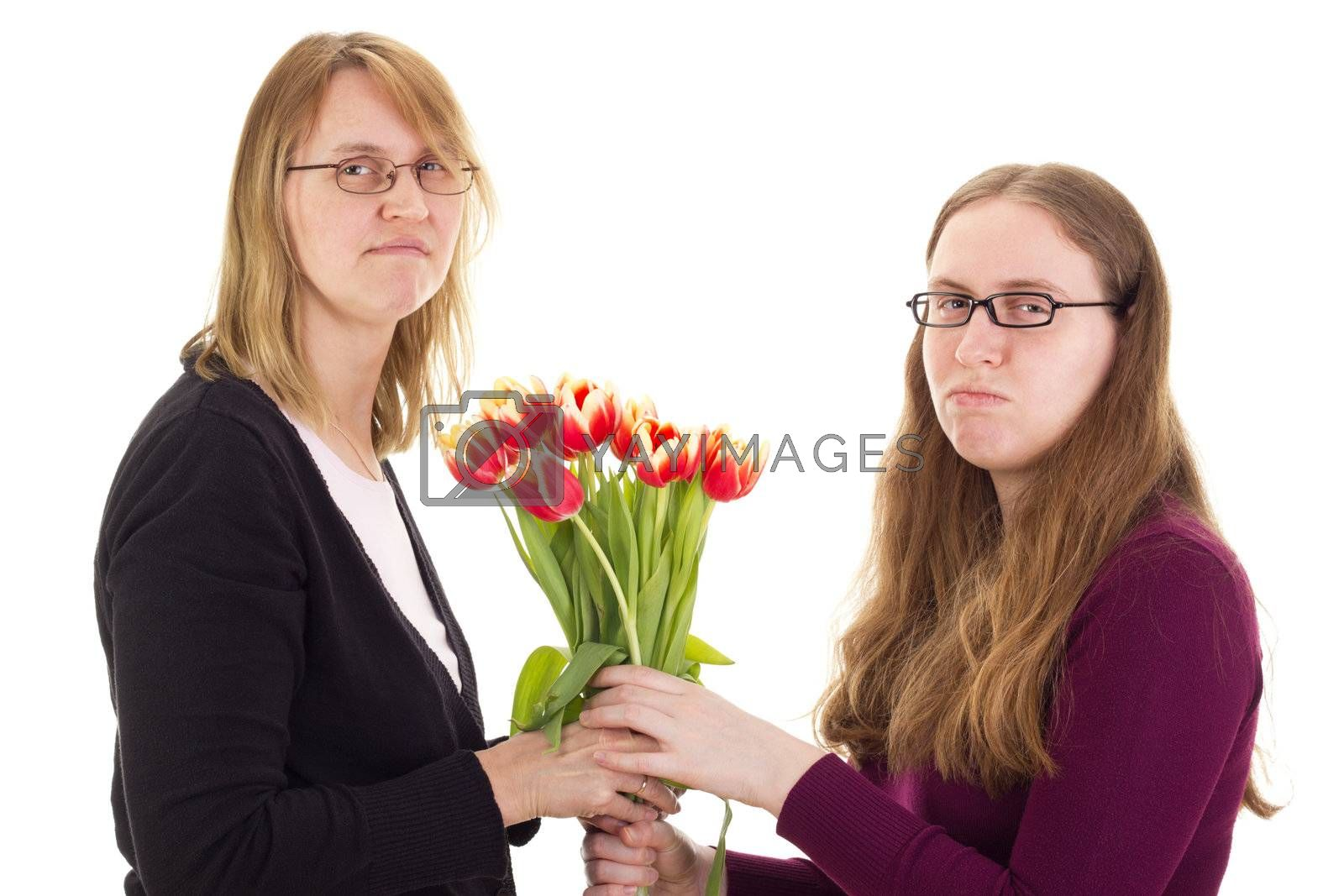 Women quarreling over tulips by gwolters