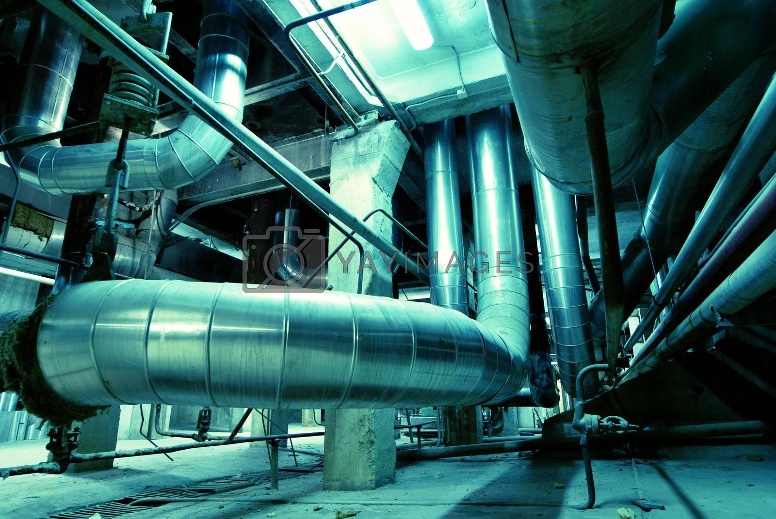 Industrial zone, Steel pipelines in blue tones   by nostal6ie