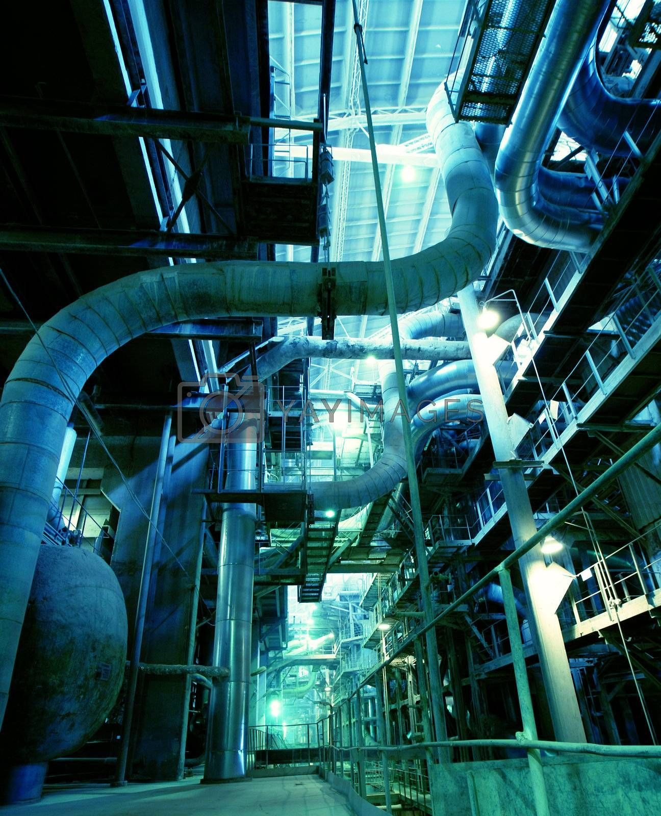 Industrial zone, Steel pipelines, valves and ladders by nostal6ie