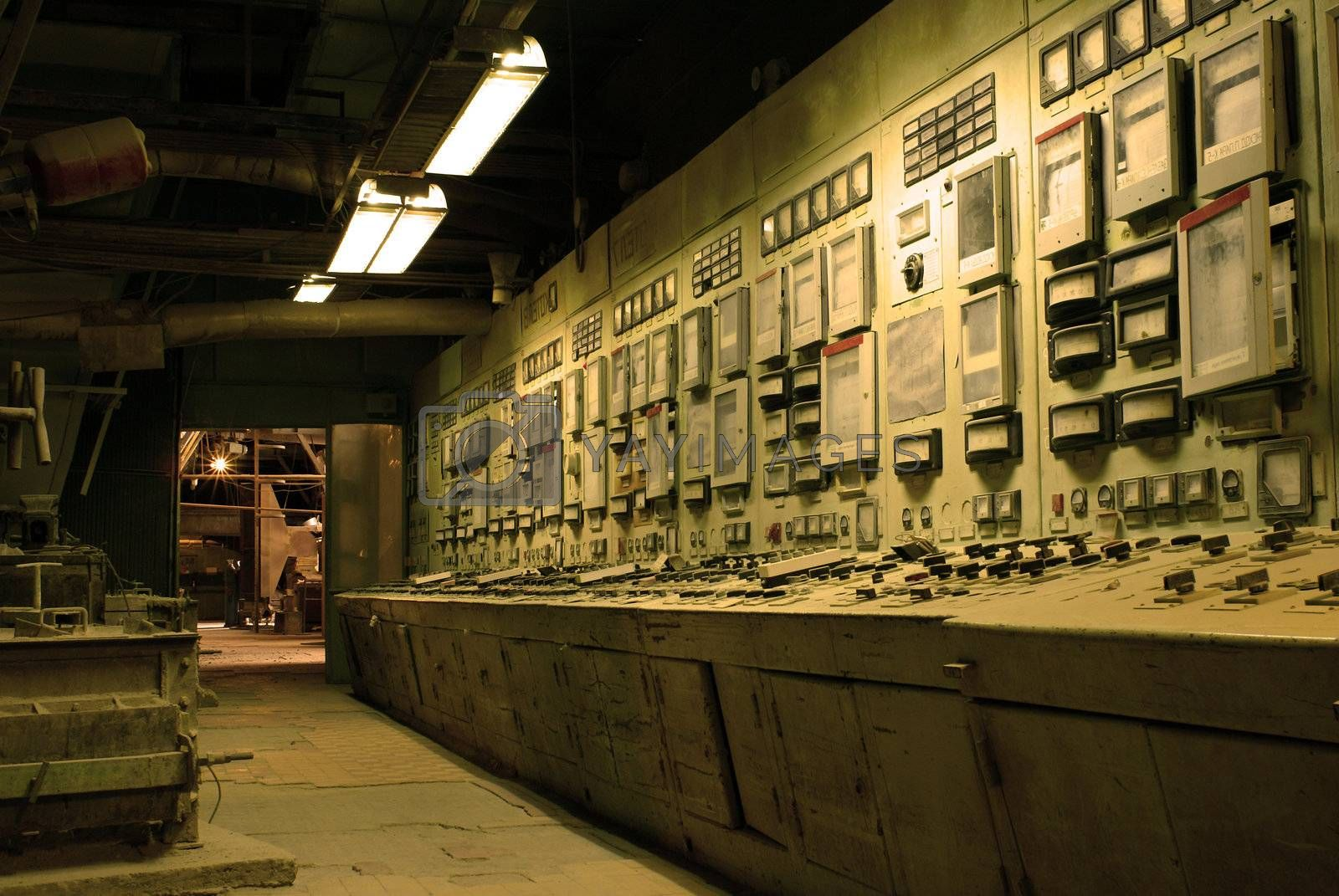operator room at old creepy dark decaying dirty factory