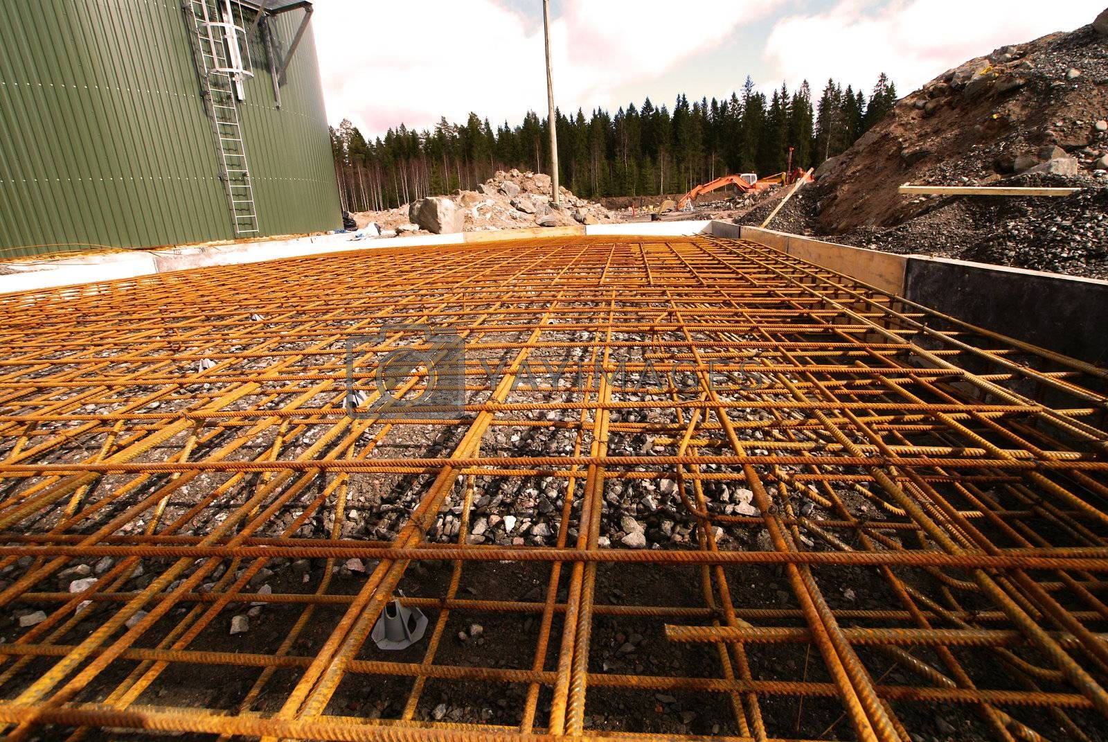 reinforcement bars on construction site