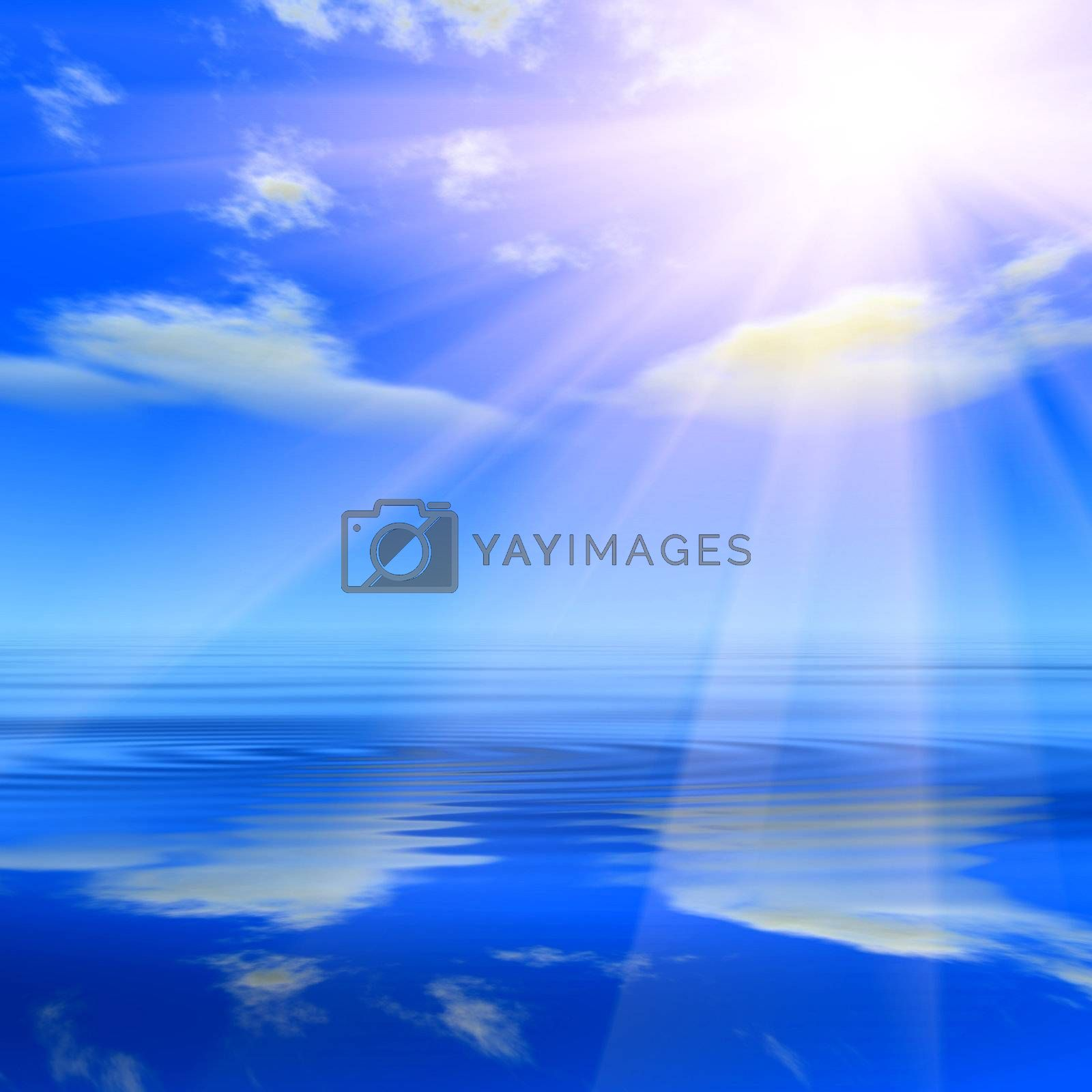 Aquamarine sky, shining sun and crystal water