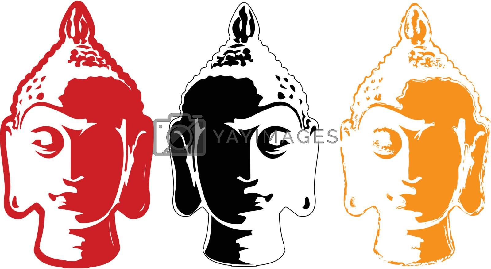 the vector color buddha head set