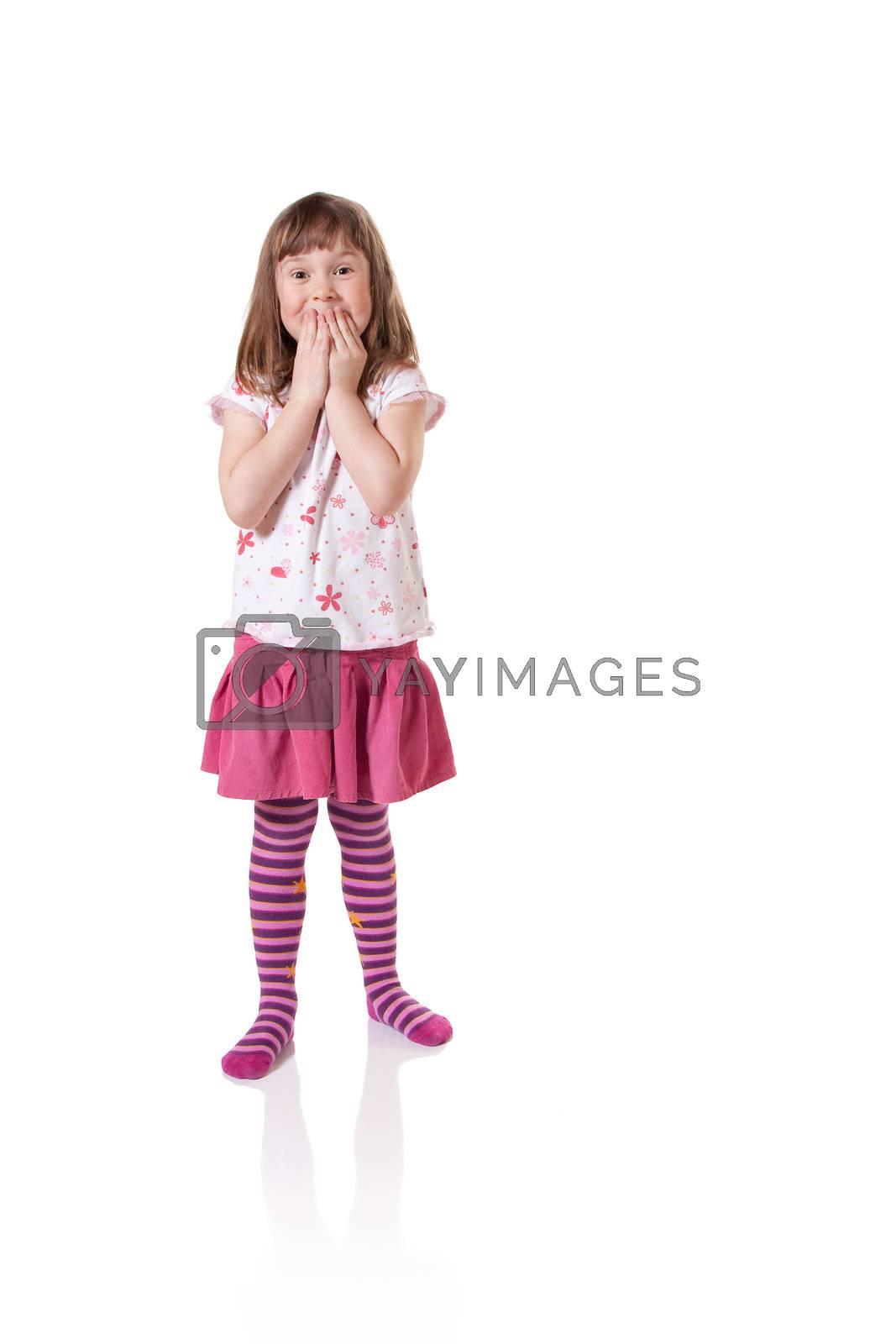 Cute little girl looking surprised