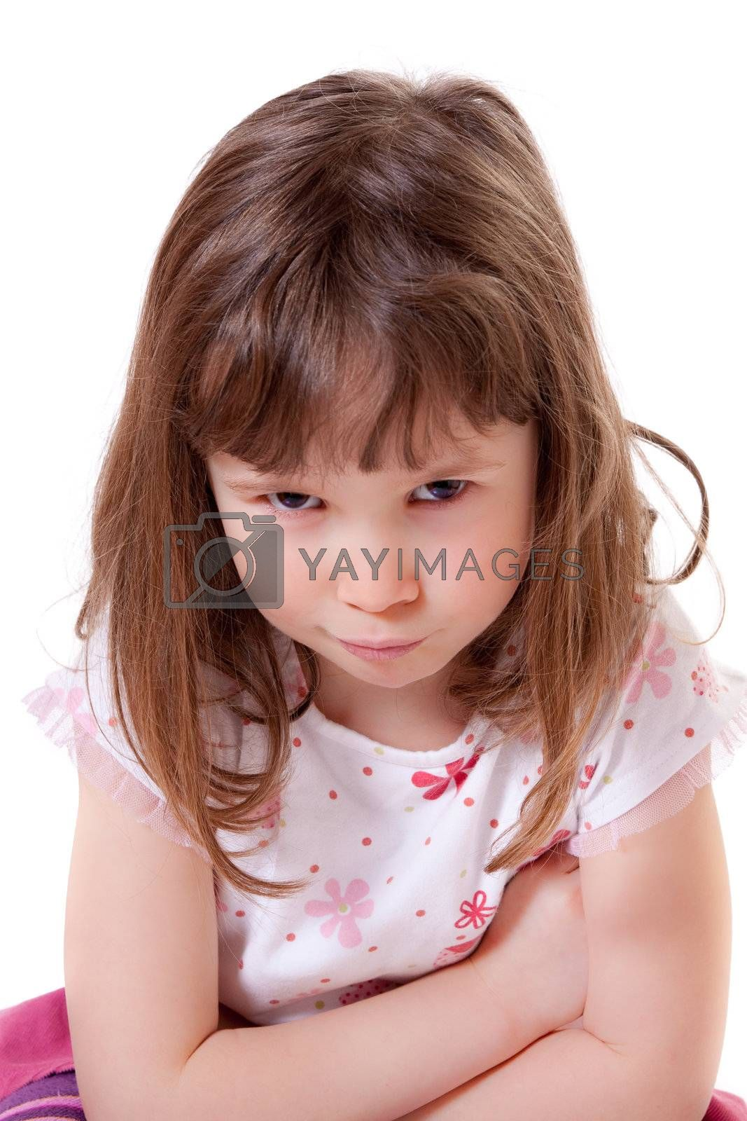 Cute little girl in a bad-tempered mood
