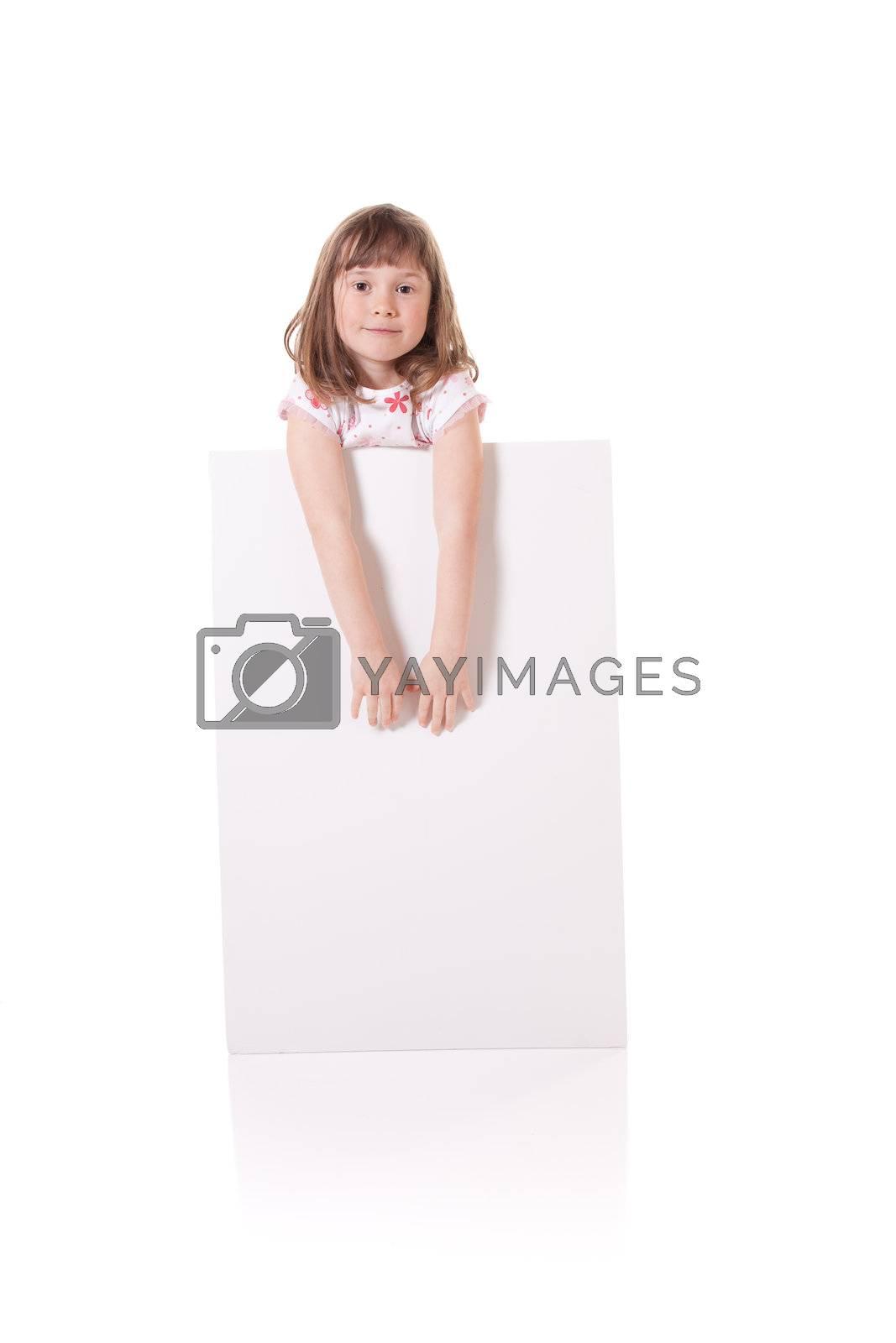 Cute little girl holding a blank cardboard sign