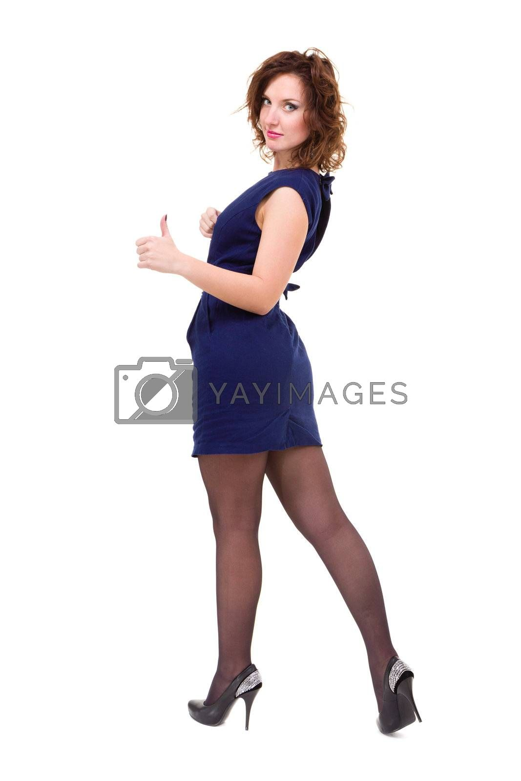 Image of attractive woman showing thumbsup, isolated on white