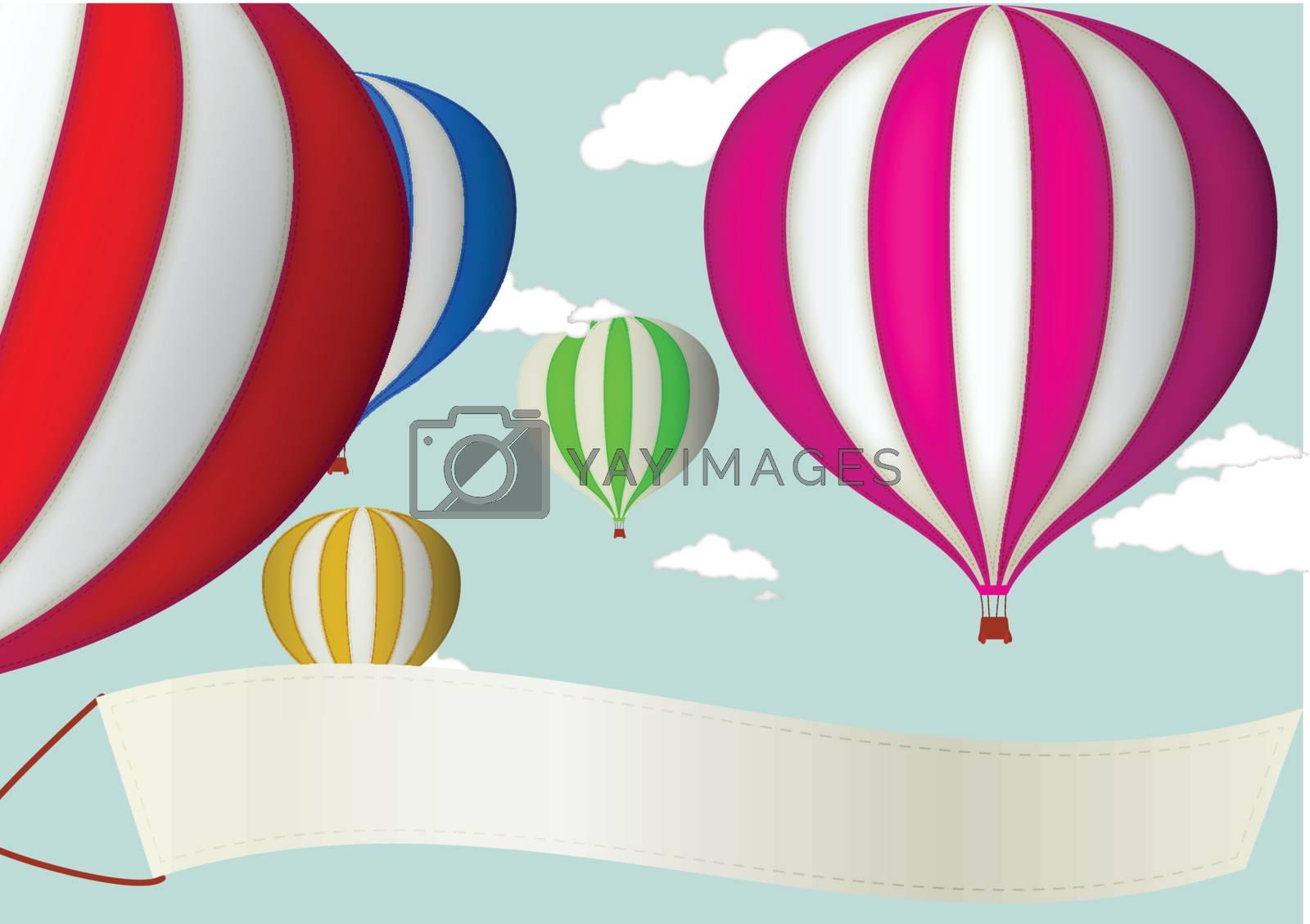 Vector Illustration Of Hot Air Balloon