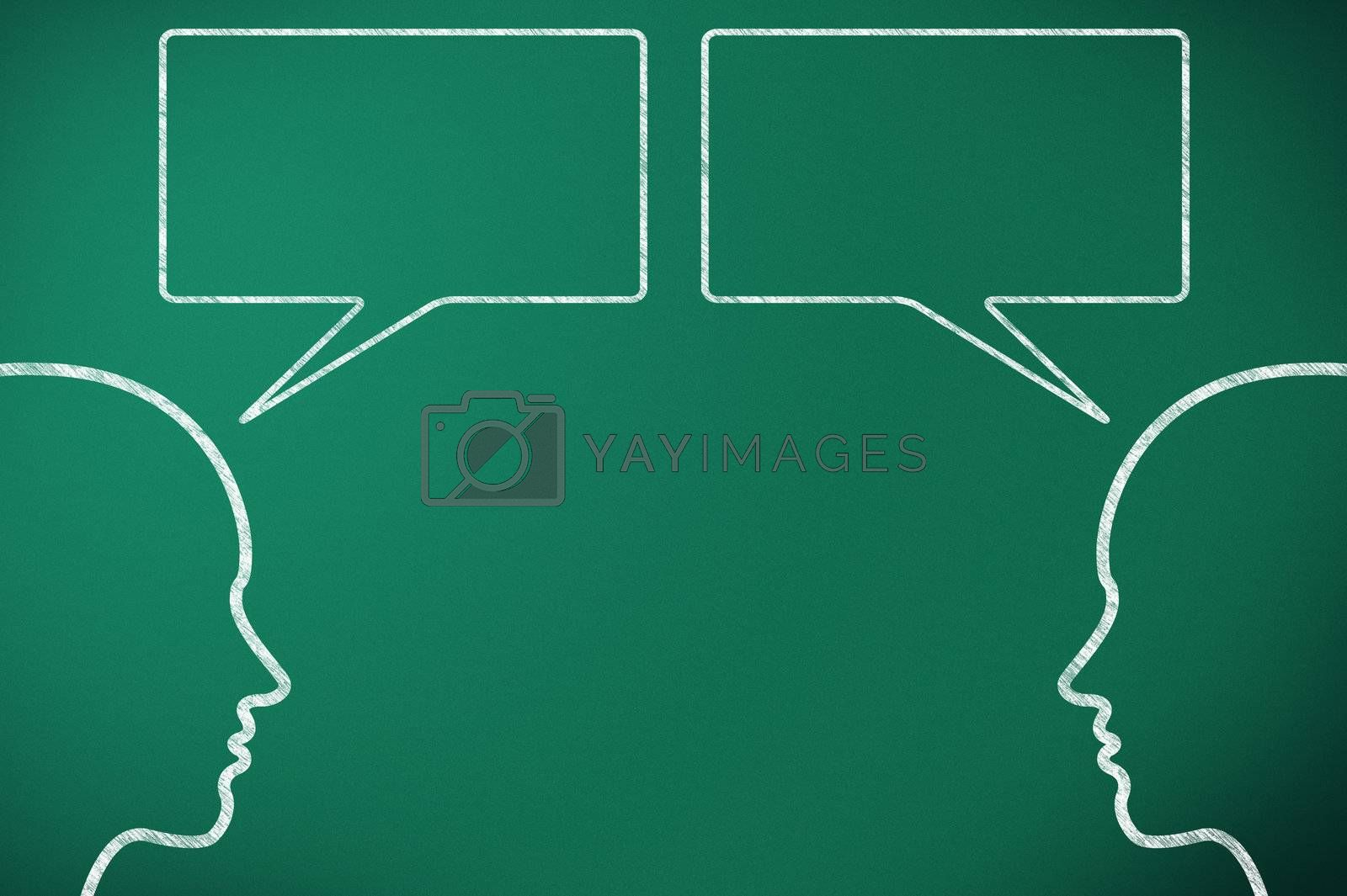 two head comunicate on green blackboard throught speech bubble