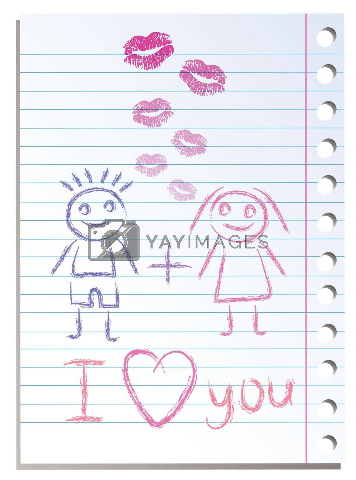 Notebook paper sheet with lips imprint and girl with boy fall in love