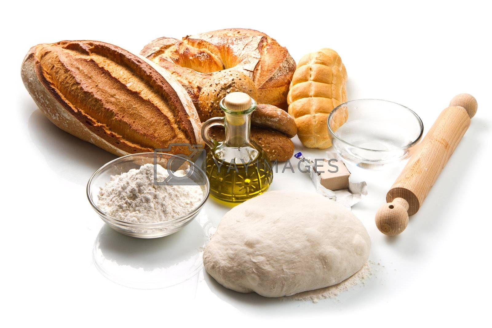 ingredients for homemade bread on white background