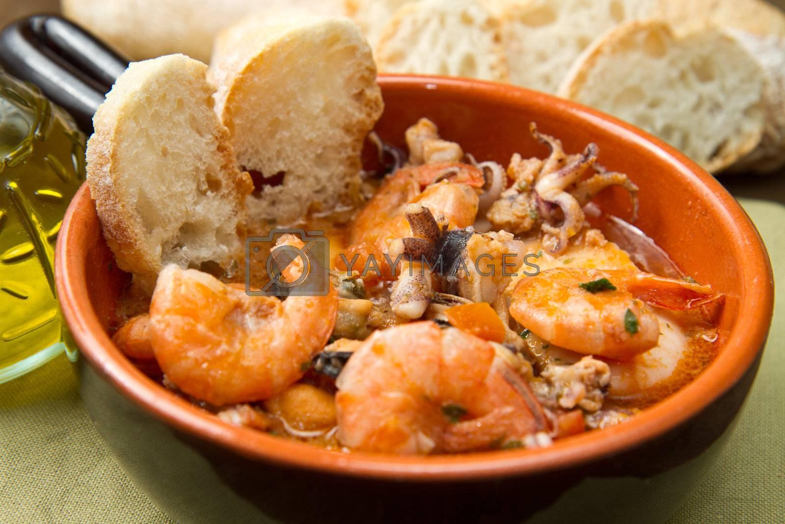 Bowl of fresh seafood soup