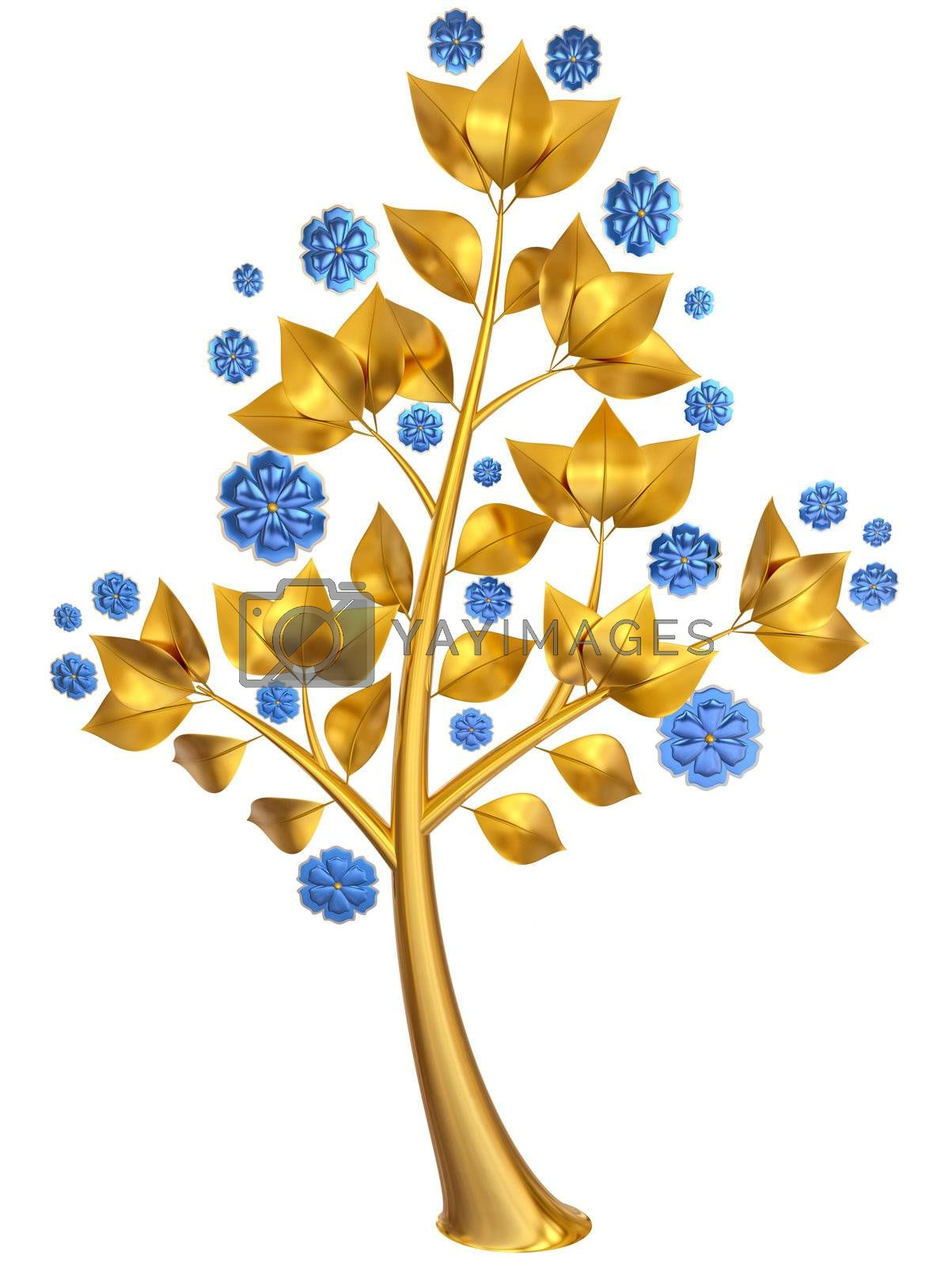 Beautiful golden tree with expensive blue flowers as jewelry