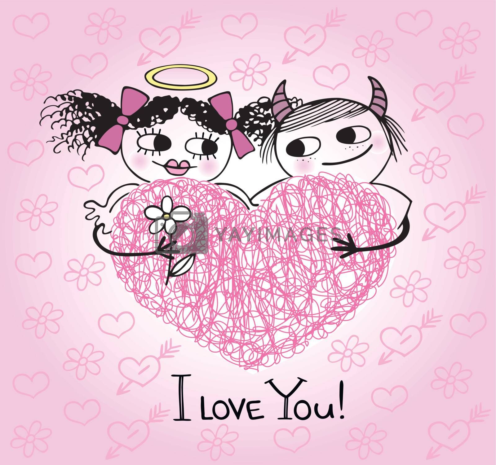 Valentines card with hearts and couple in love