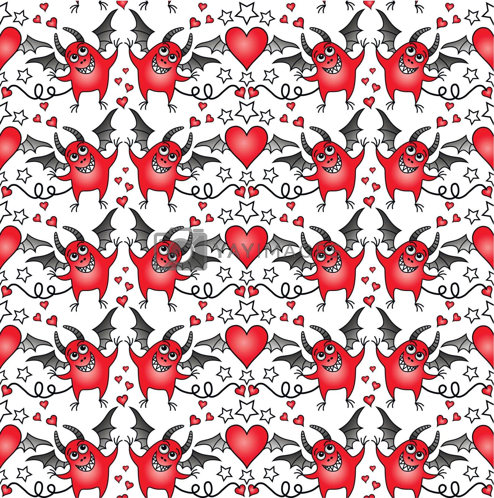 seamless background with cheerful devils and hearts