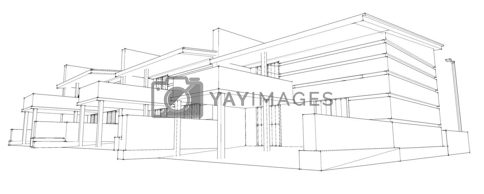 pencil sketch of residential development