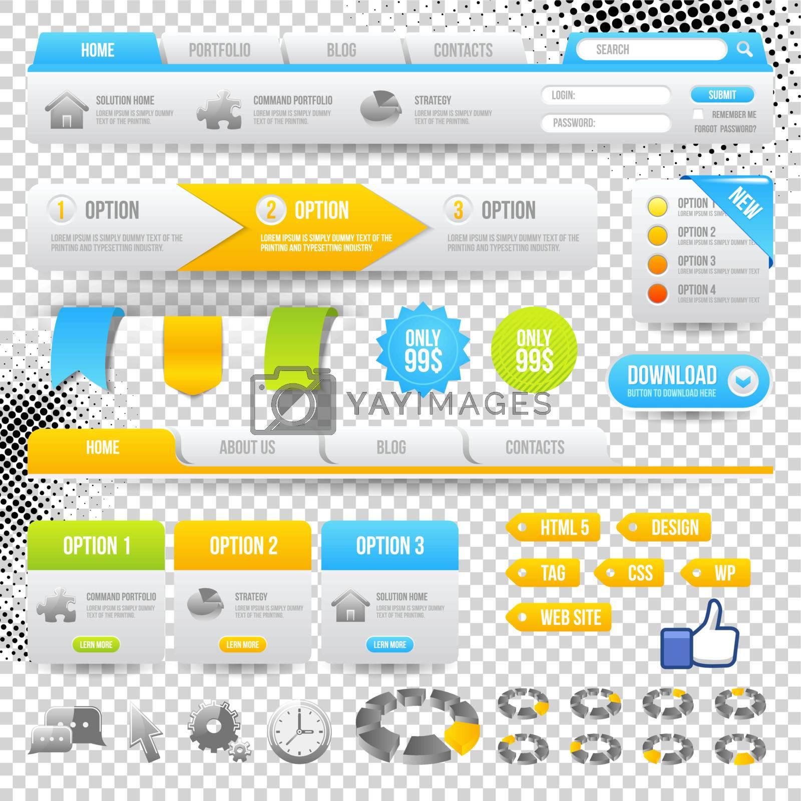 Web Elements. Site Navigation Menu Pack. Design Template.