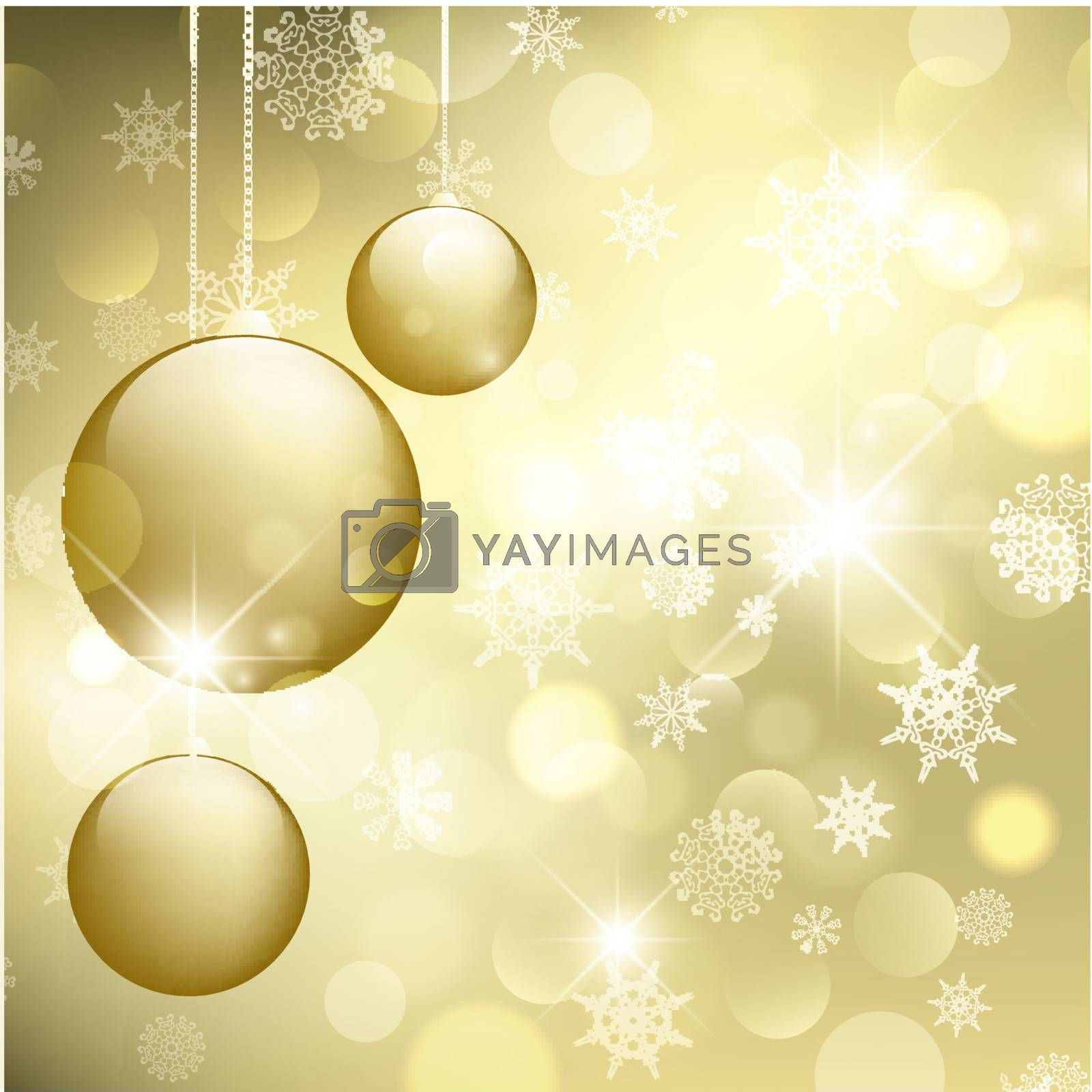 Merry Christmas and Happy New Year Golden Greeting Card