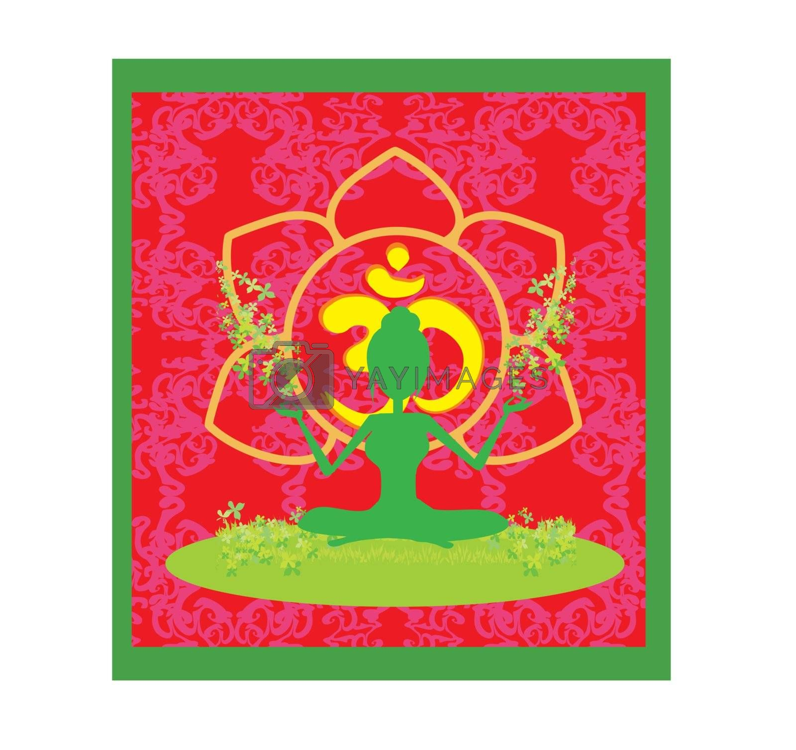 Yoga girl in lotus position