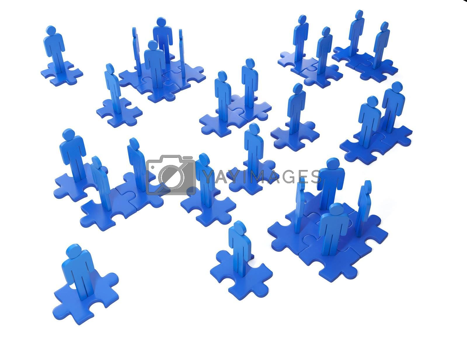 3d Illustration: Business ideas. Team work and cooperation of the people