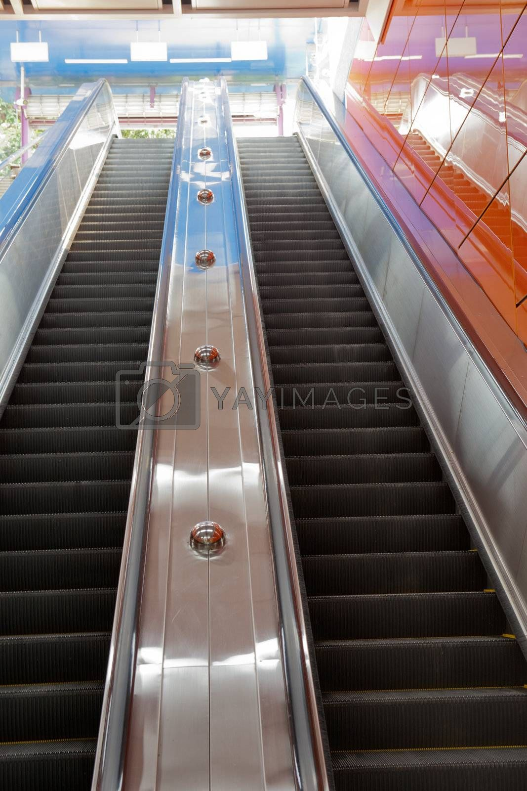 Escalator in the subway station in Guangzhou city, China