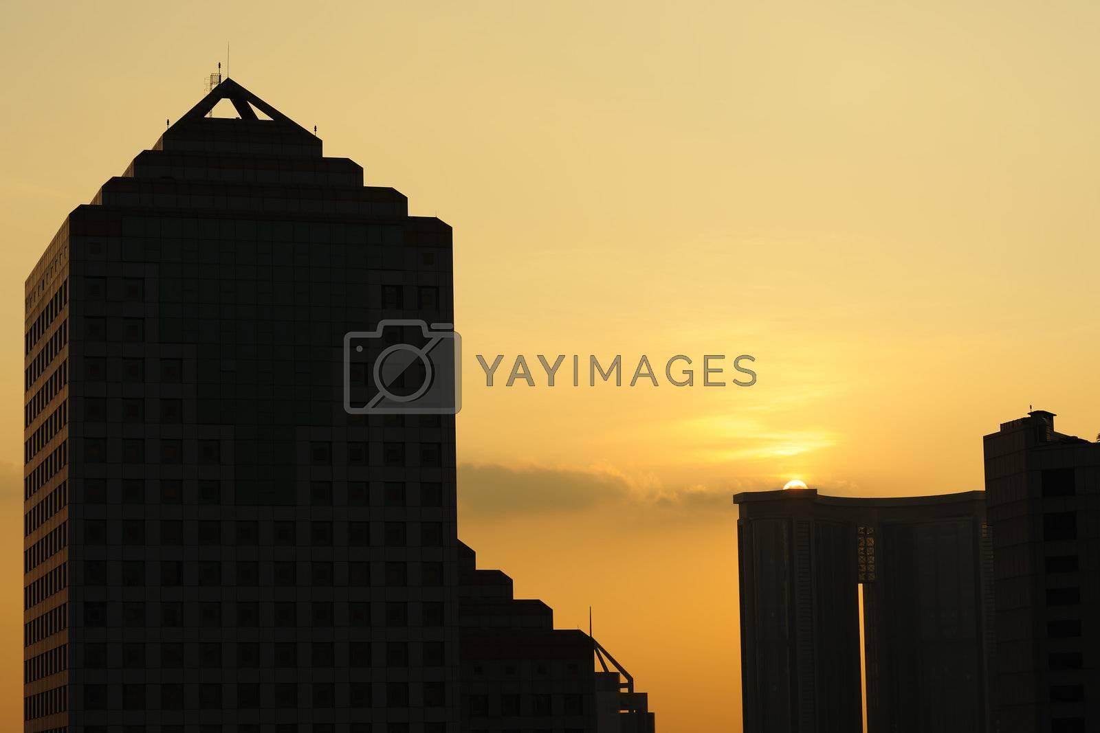 Urban sunset in Guangzhou city of China