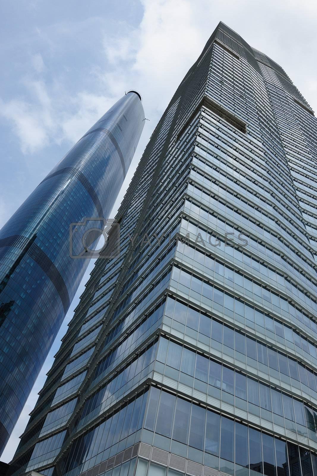 Modern building exterior under the blue sky