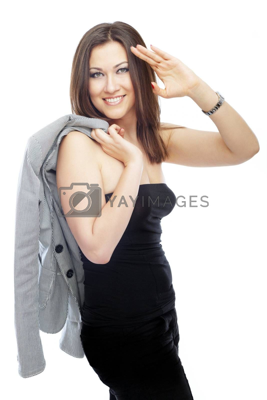 Successful businesswoman on a white background