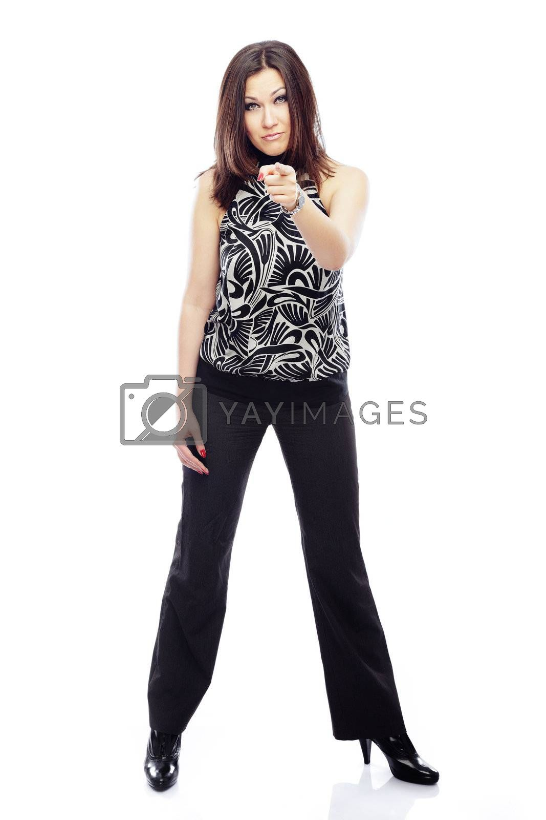 Angry businesswoman on a white background pointing her finger