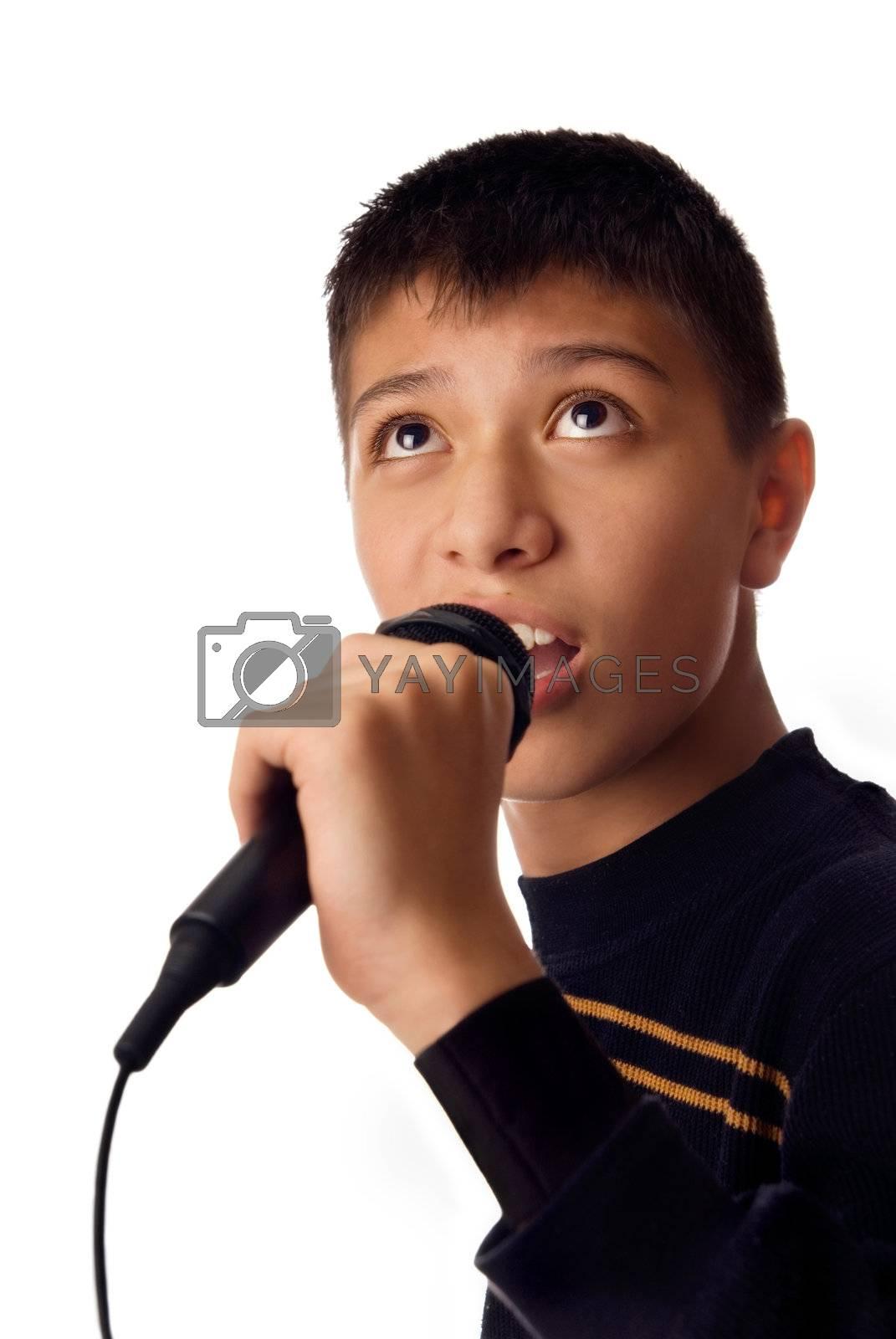 Photo of young boy singing a karaoke song