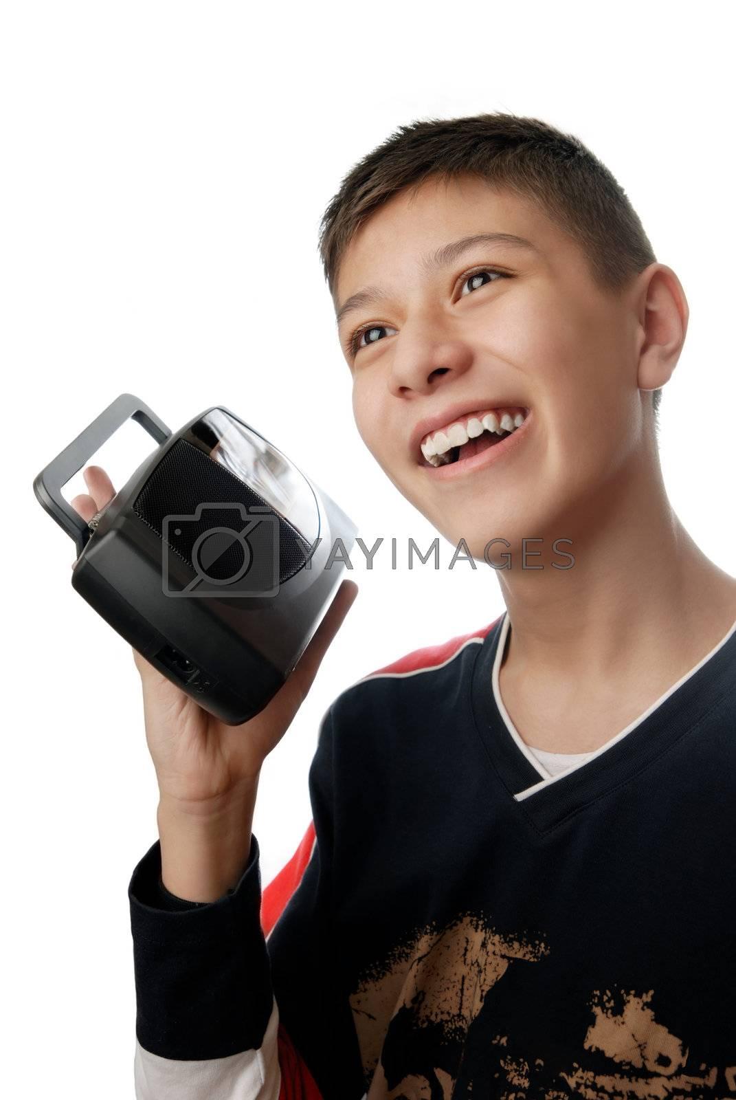 Funny photo of the boy with radio reciever
