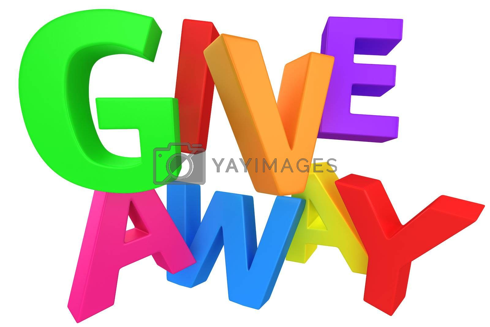 """Word """"Giveaway"""" made from multicolored letters isolated on white"""