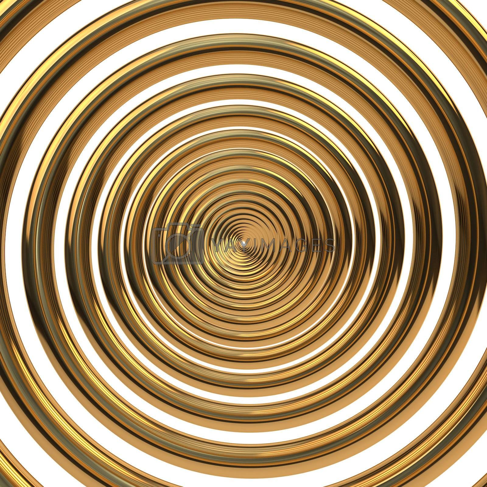 Concentric gold helix isolated on white