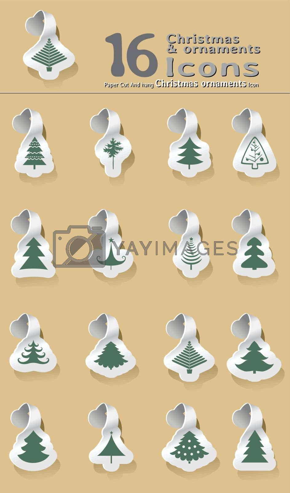 set of paper cut and hanging Christmas tree