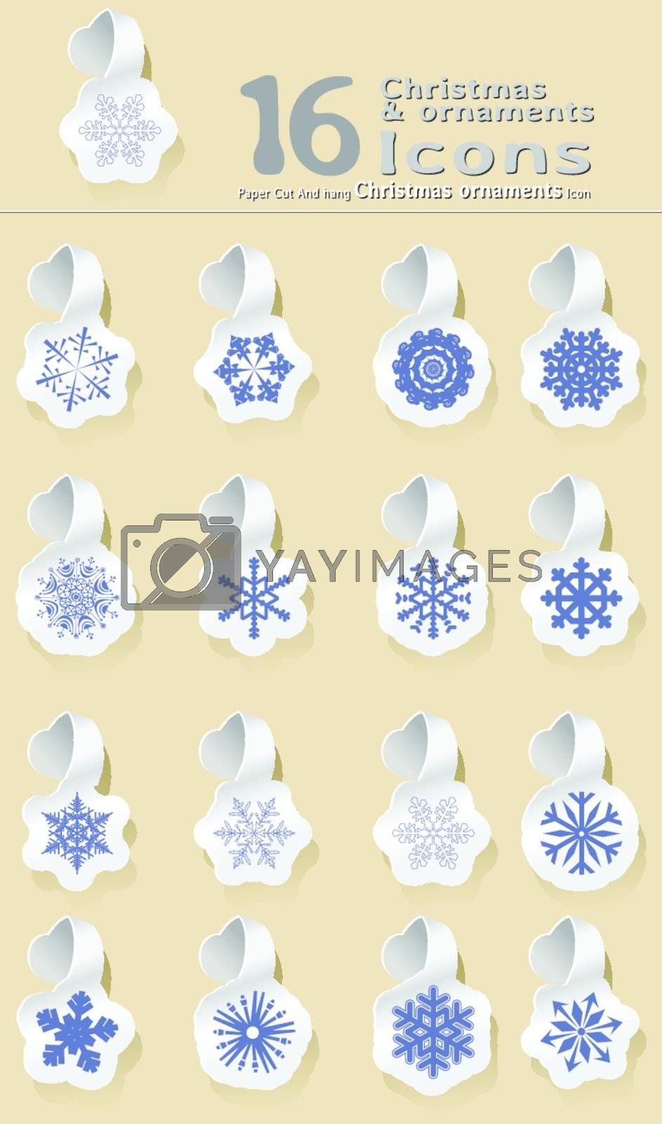 set of paper cut and hanging Christmas and snowflake