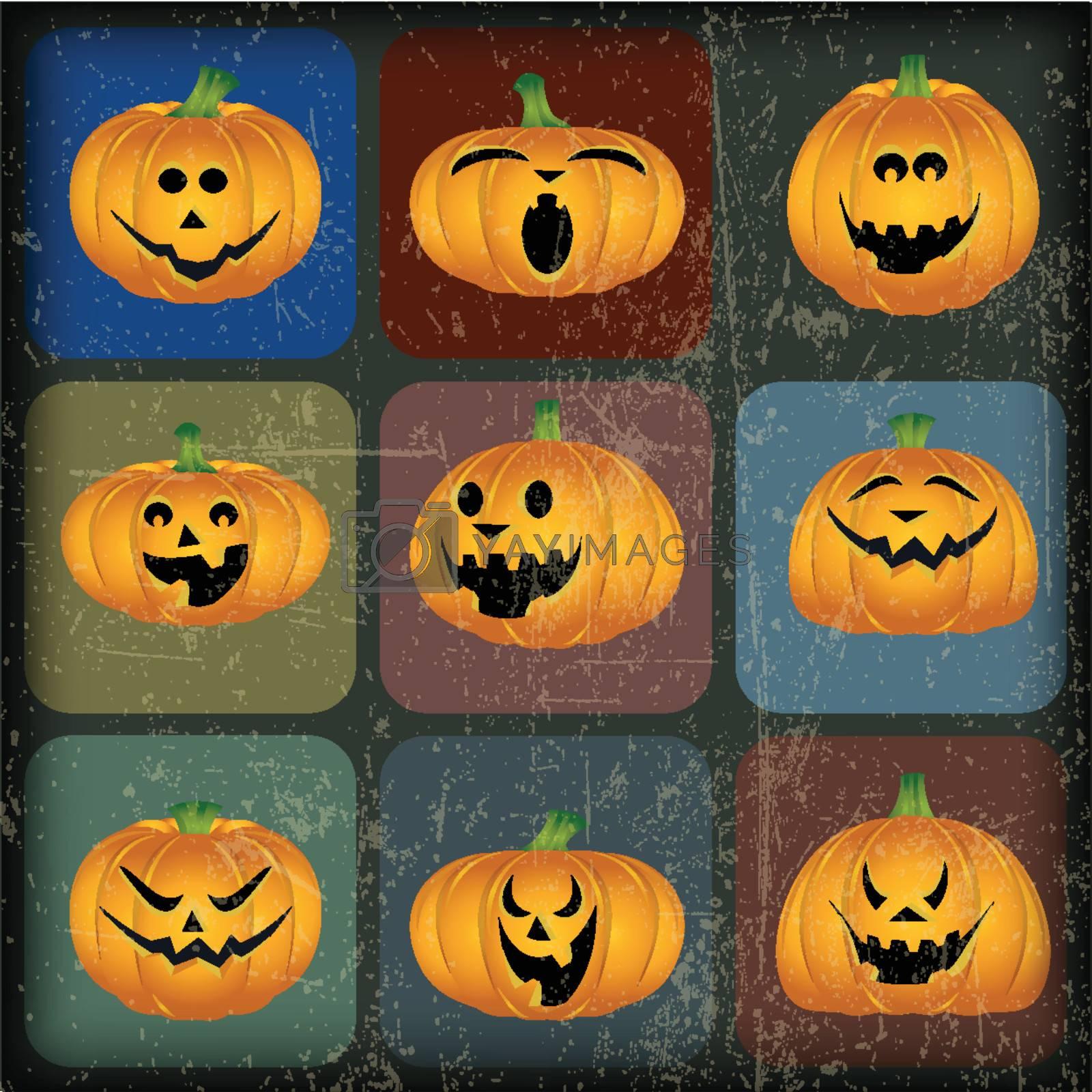 Halloween Pumpkins with Grunge Effect