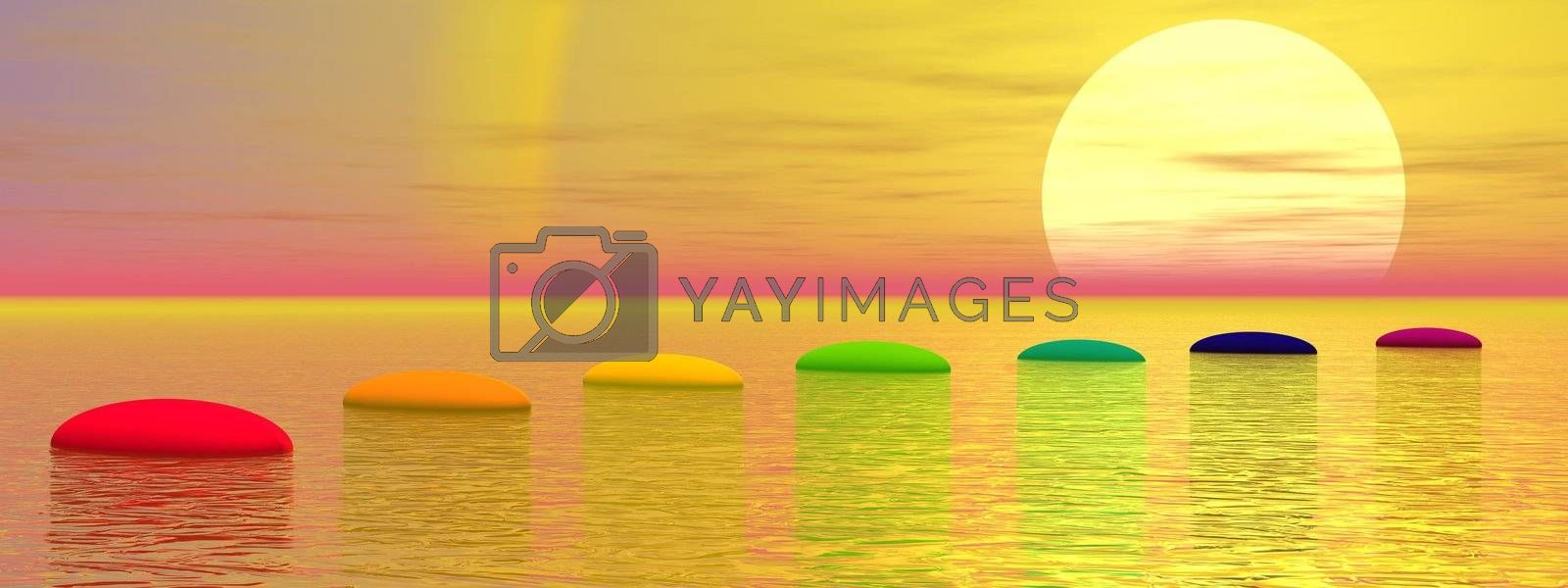Seven steps with chakra colors over ocean leading to the sun by sunset
