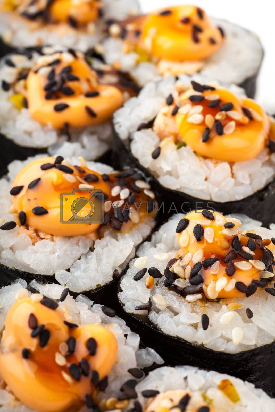 Close up top view of sushi