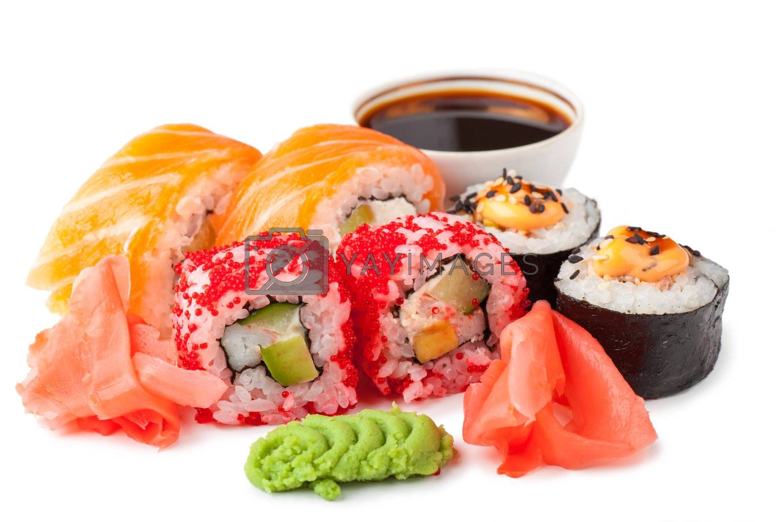 Close up view of sushi isolated over white background