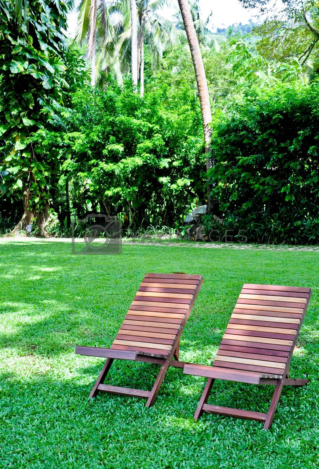 Romantic seats is on the green garden