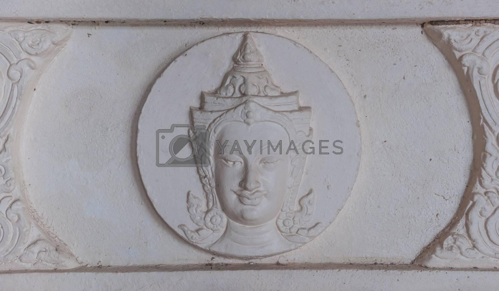 The Thai style statue of deva that decorate in Thai temple